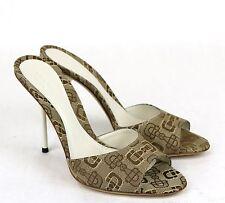 New Authentic GUCCI Horsebit Canvas Slides Sandal, Beige/White 317049 9742