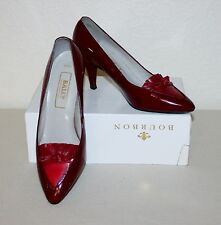 """VINTAGE BALLY """"RONA"""" UK 7 EU 40.5 DARK RED LEATHER POINT COURT SHOES MADE IN UK"""