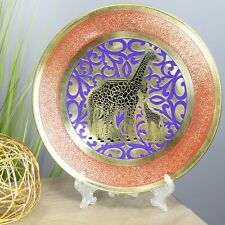 Natural Geo Giraffe Family Decorative Brass Accent Plate