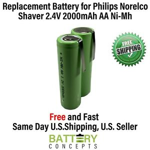 Philips Norelco Replacement Battery 2.4V 2000mAh AA NiMH Electric Razor/Shaver