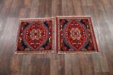 MEMORIAL SALE Pair of 2 Vintage Geometric Abadeh Tribal Handmade Area Rug 2x2 ft