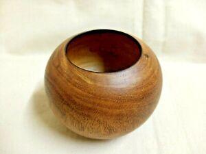 Vintage Wooden Vase Handmade Pots Round Box Flowers Home Decor Brown Mango Wood
