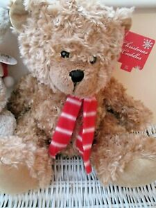 "CARTE BLANCHE CHRISTMAS CUDDLES BROWN TEDDY BEAR 15"" RED WHITE STRIPE SCARF BNWT"