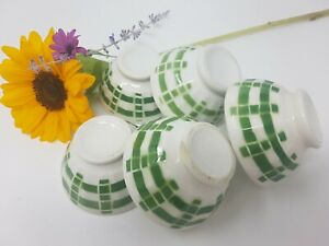 Set Of 5 French Vintage Little Green Squared Bowl Cafe To Milk