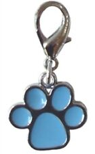 """Dog Charm Enamel Paw Print in Blue - Attaches with Lobster Claw  3/4"""""""