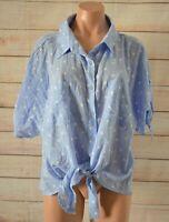 Beme Button Front Shirt Blouse Size Plus 18 Blue White Polkadot Tie Front