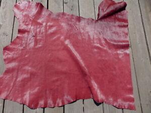Hair On Calfskin calf cowhide leather hide Red Wine 2-2 1/2 oz Silky Hair