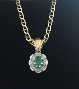 9ct Gold Emerald and Diamond Pendant Necklace with 16.5 inch Mariner Chain