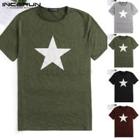 Summer Muscle Short Sleeve T Shirt Mens Star Printed Sport Breatable Tops Tee UK