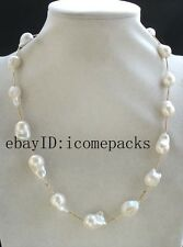"freshwater pearl white reborn keshi necklace 21"" nature wholesale beads"