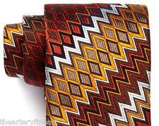 MISSONI Italy Men's Silk Neck Tie 'Diamond and Zig-Zag' Chevron Rust, Orange NEW