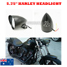 "Black Tri Bar 5.75"" Alloy Billet Headlight Harley chopper bobber custom dyna"