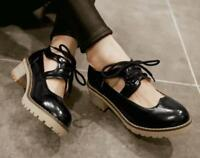 Women's Lace Up Round Toe Sandals Brogue Low Chunky Shoes Block Heels Oxfords