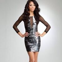 BEBE ADDICTION Black Silver Sequin Bodycon 3/4 Mesh Sleeve Dress - XXS XS L