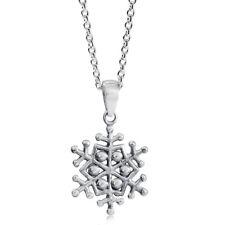 Snowflake Design Christmas Sterling Silver Pendant + Chain