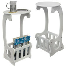 End / Bedside Table with Magazine / Book Storage Rack - White OC1618X2