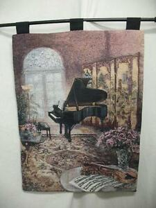 Wall Decor Decorative Piano In House Multi-Color Tapestry W/ Hanging Bar