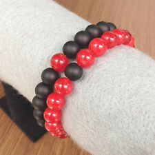 His and Hers Couples Distance Bracelet YinYang Matte Agate & Red 8mm Bead Set