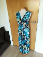 Ladies DEBENHAMS Dress Size 14 Blue Long Midi Stretch Smart Casual Day Party