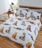 "Fusion ""Cats"" Fun & Funky Easy Care Duvet Cover Bedding Set Multi"