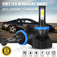 2PCS CREE H11 H9 H8 1000W 150000LM LED Headlight Conversion Fog Bulbs 6000K HID