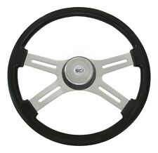 "4 Spoke 18"" Black Classic Steering Wheel w/ Matching Bezel for FL PB KW & More!"
