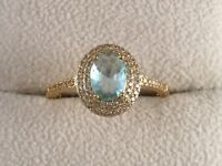 Vintage Jewellery Gold Ring with Aquamarine White Sapphires Antique Deco Jewelry