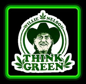 "4"" Willie Nelson ""Think Green"" vinyl sticker. Funny 420 weed, marijuana decal."
