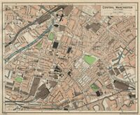 CENTRAL MANCHESTER. Vintage town city map plan. Lancashire 1950 old