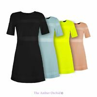 WOMENS NEW LADIES COCKTAIL PARTY SUMMER MESH SHORT SLEEVE SKATER DRESS 8-14