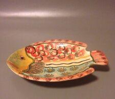 Modigliani Italian studio pottery signed fish trinket dish vintage mid century