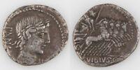 90 BC Roman Republic AR Denarius Vibius Pansa Apollo Minerva Quadriga S-242