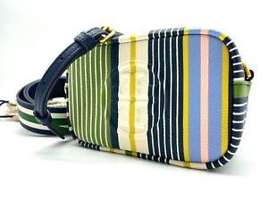 NWT Tory Burch Perry Bombe Colorful Stripe Mini Pebbled Leather CrossBody