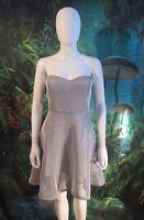 Lulu's Womens Heavy Mesh White Fit flare Strapless dress (F)