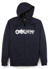 Men's Oakley Ditch Fleece Hoodie Jacket Full Zip Navy Blue Size L XL