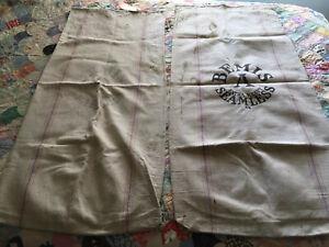 "2 Vintage BEMIS A EXTRA HEAVY SEAMLESS 44 Cotton Farm Feed/Seed Sack/Bag 43""X19"""