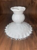 Fenton Art Milk Glass Silver Crest Spanish Lace White Candlestick Candle Holder