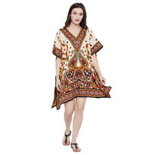 Off-White Women Casual Tunic Polyester Beach Wear Printed Boho Mini Tunic Dress