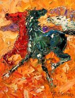 Equine Horses Wild Mustangs Equestrian Limited Edition Art PRINT Andre Dluhos