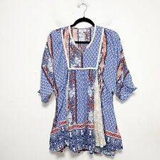Umgee Floral Boho Swing Tunic Top Womens Size L