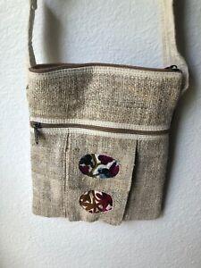 NWT Embroidered Hippie Eco Frendly THC Free PURE Hemp Side BAG Adjust Nepal SB22
