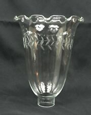"""8"""" Hurricane Candle Lamp Crimp Top Etched Blown Glass Shade - circa 1860's"""