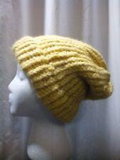 Handmade One Size Beanie Knitted Hat Cornsilk Yellow