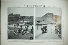 1903 PRINT CHINESE LABOURERS AT WORK DALNY ~ WALLS & GATEWAY OF MUKDEN
