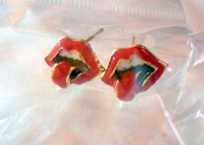 RUBY RED LIPS & TONGUE EARRINGS Jagger Style Retro Punk Rock Stones Logo NEW