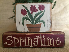 Primitive Country Tulips Flowers Springtime 2pc Shelf Sitter Wood Block Set