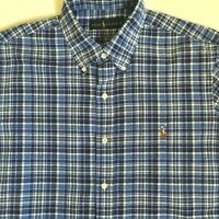 Ralph Lauren Mens Blue & White Plaid Check Multicolor Logo L/S Shirt Large L