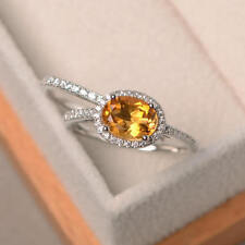 1.90 Ct Natural Citrine Diamond Ring 14K Real White Gold Wedding Band Set Size O