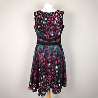 COAST Sleeveless Skater Dress SIZE UK 14 A-line Fit & flare Red grey abstract