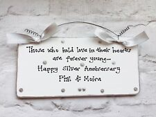 SILVER 25th WEDDING ANNIVERSARY Gift Present Sign Plaque ~ Can be personalised